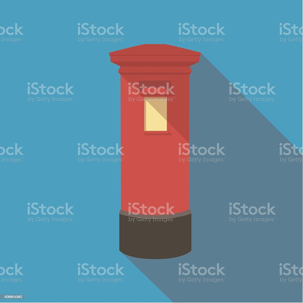 Vector illustration long shadow of london red post box vector art illustration