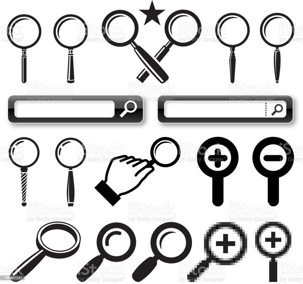 Vector illustration, magnifying glass icons vector art illustration