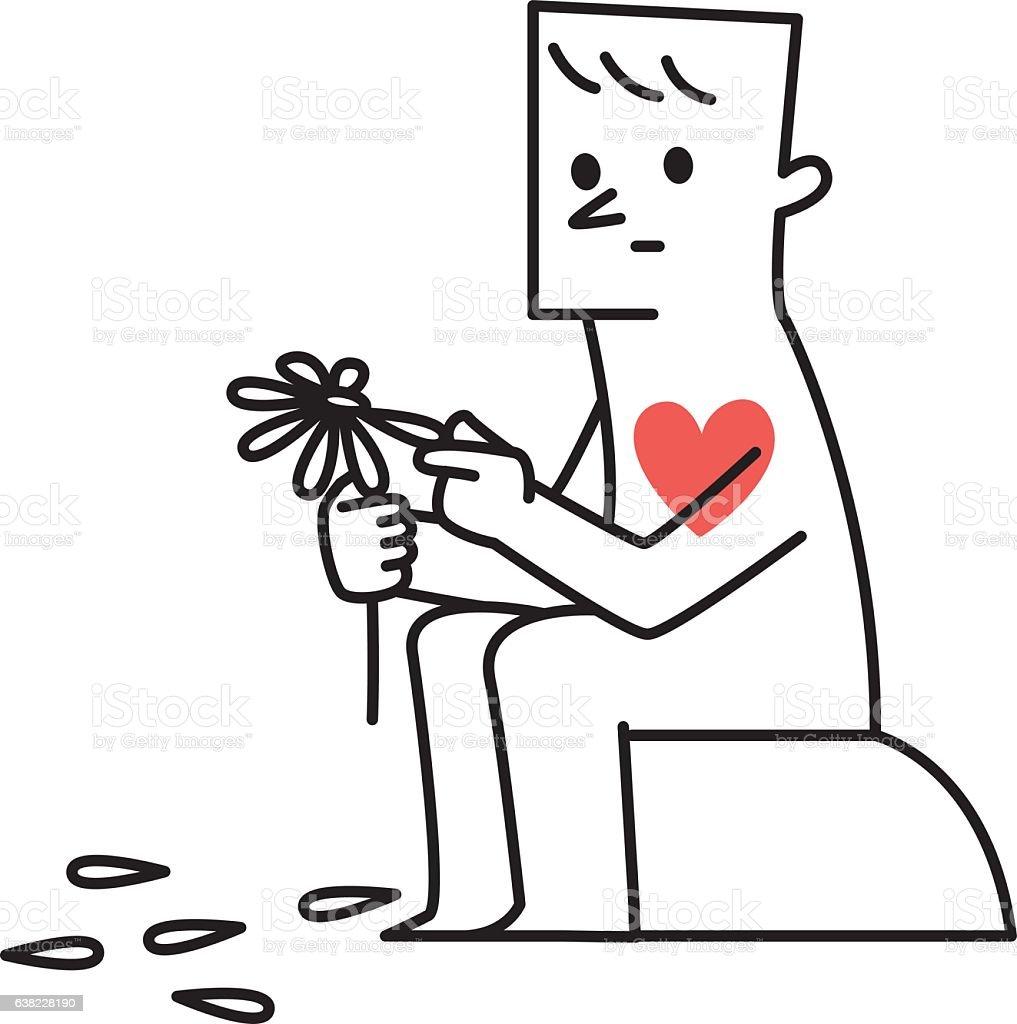 Vector illustration Man Plucking Petals Off a Daisy vector art illustration