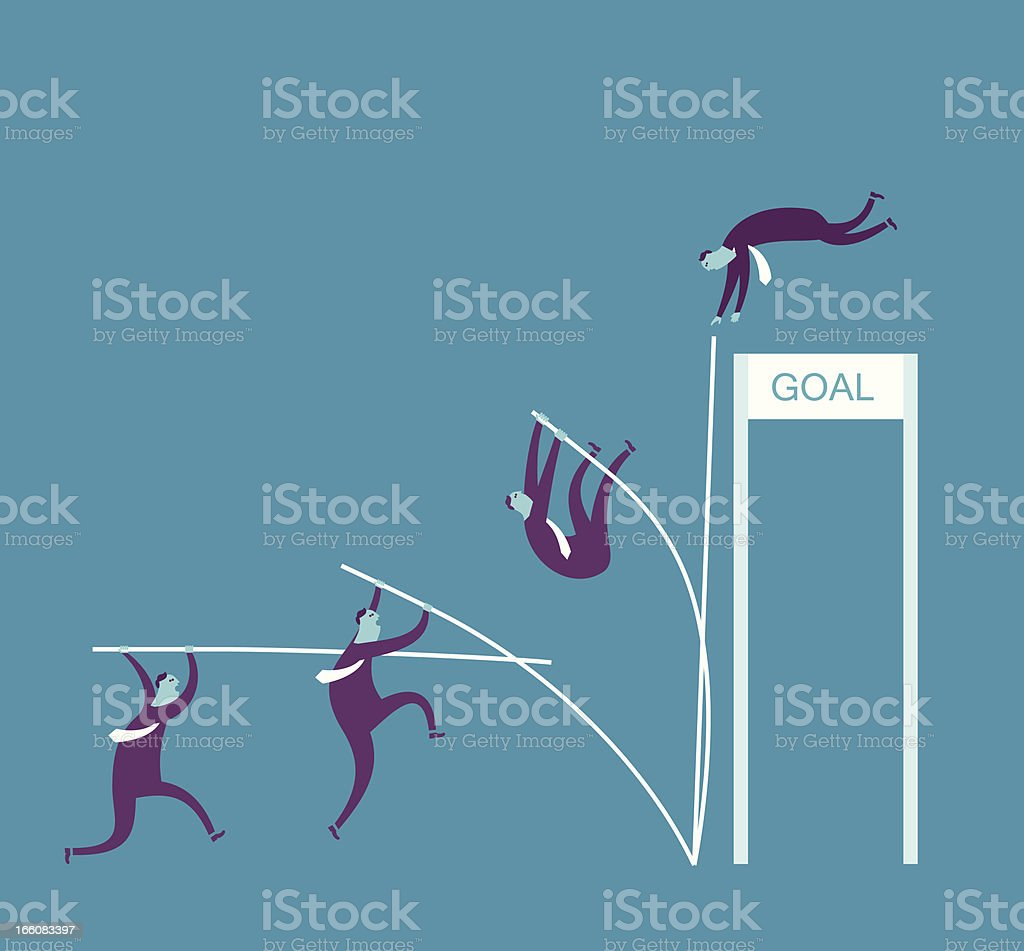Vector illustration, man pole vaulting 'goal' royalty-free stock vector art