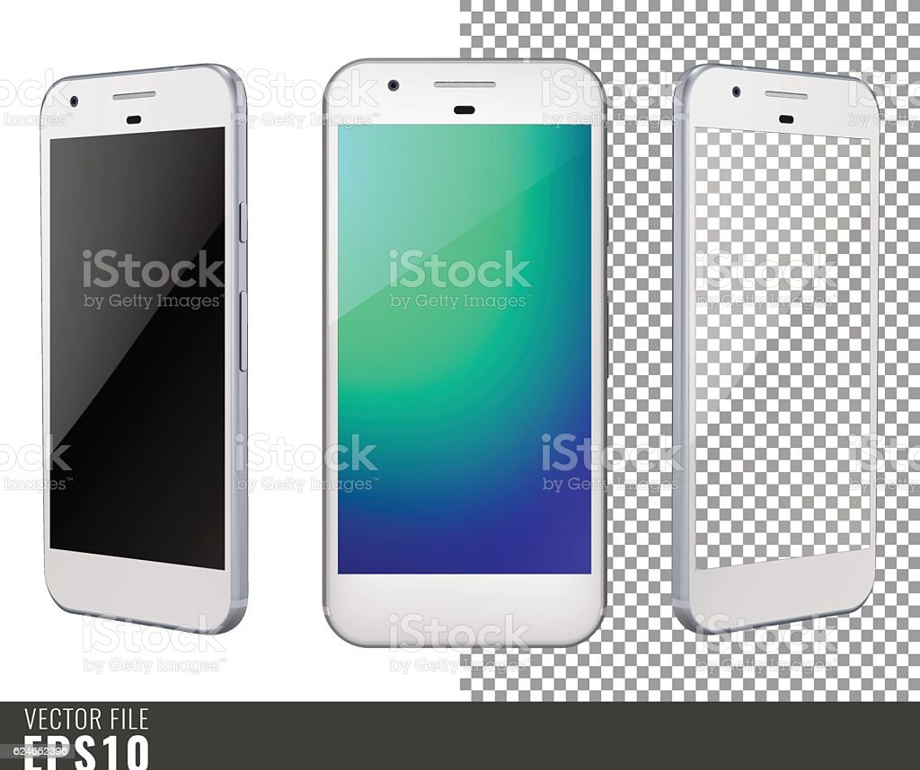 Vector illustration mock-up of white smart-phone vector art illustration