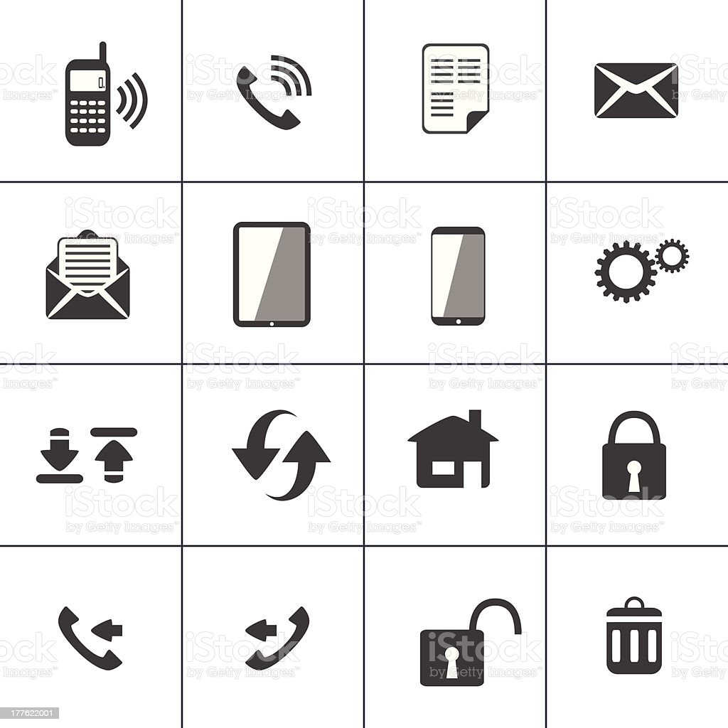 Contact and device web icon vector art illustration
