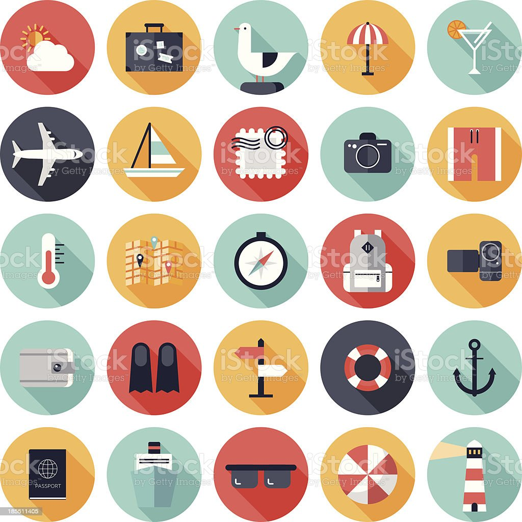 Travel and vacation flat icons set vector art illustration