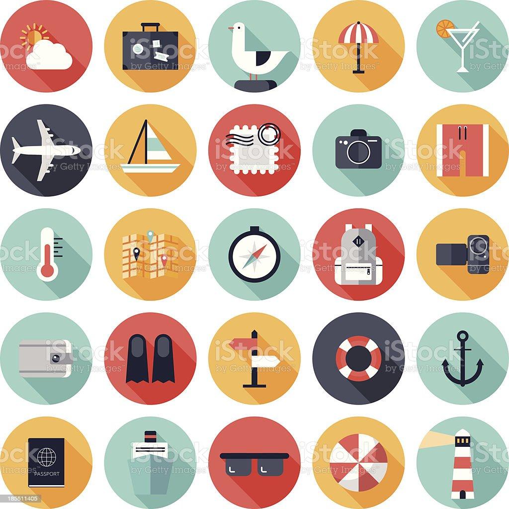 Vector illustration of 25 round travel icons vector art illustration