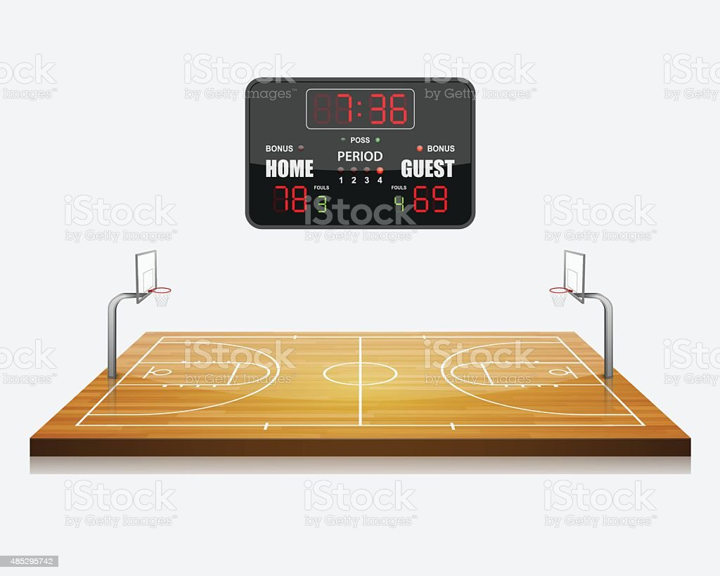 vector illustration of 3d Basketball field with a scoreboard. vector art illustration