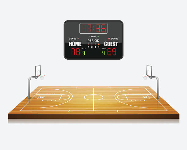 Vector Illustration Of 3d Basketball Field With A Scoreboard Art