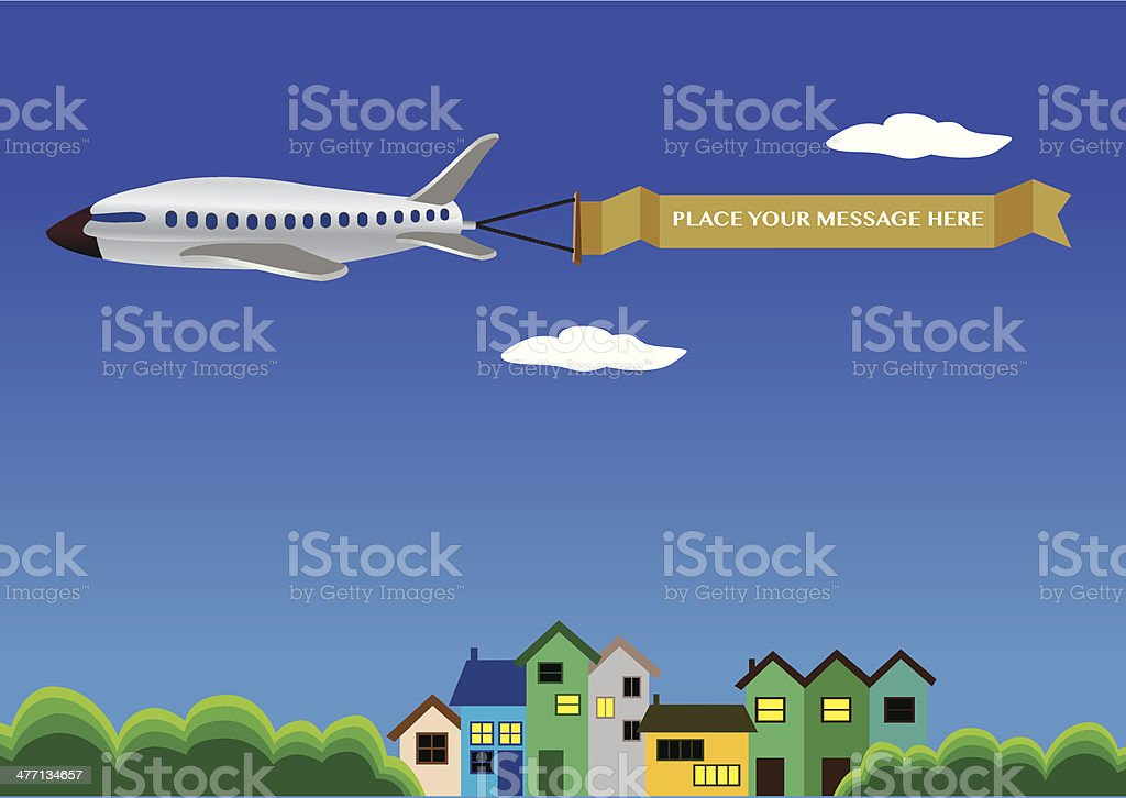 Vector illustration of a airplane with banner. royalty-free stock vector art