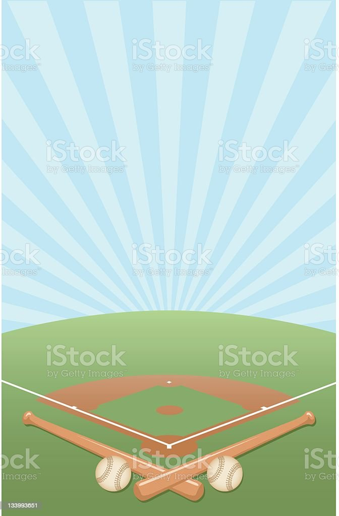 Vector illustration of a baseball diamond background vector art illustration