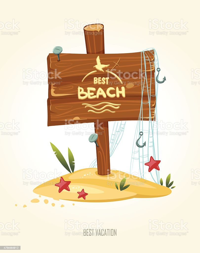 Vector illustration of a beach with  sign in the sand. vector art illustration