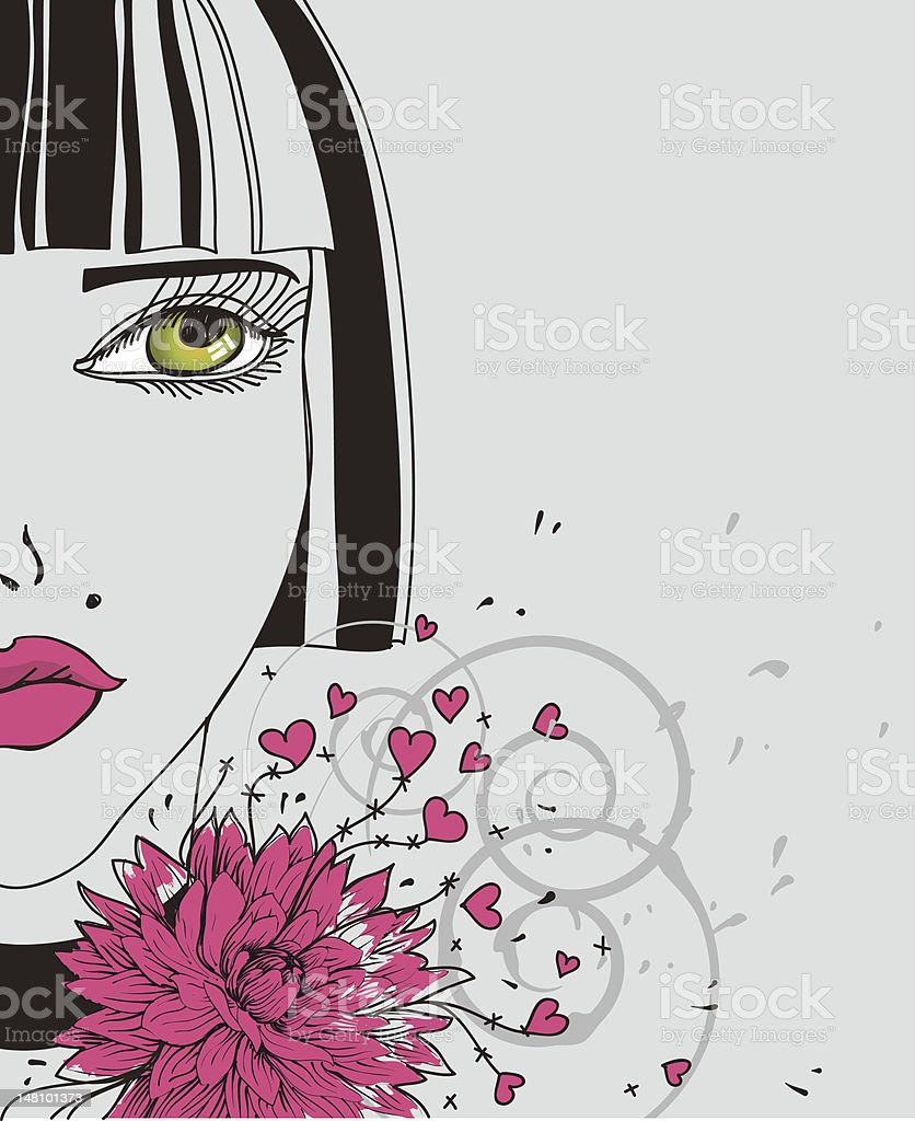 vector illustration of a beautiful girl with pink flower royalty-free stock vector art