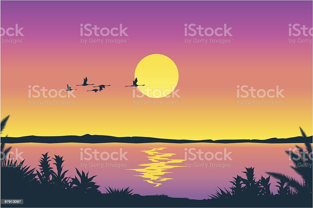 A vector illustration of a beautiful landscape at sunset royalty-free stock vector art