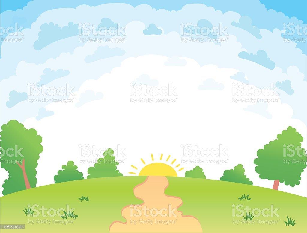 Vector illustration of a beautiful summer landscape vector art illustration