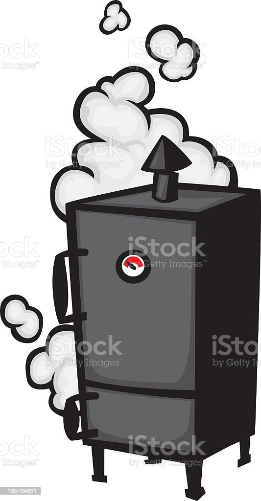 A vector illustration of a black meat smoker vector art illustration