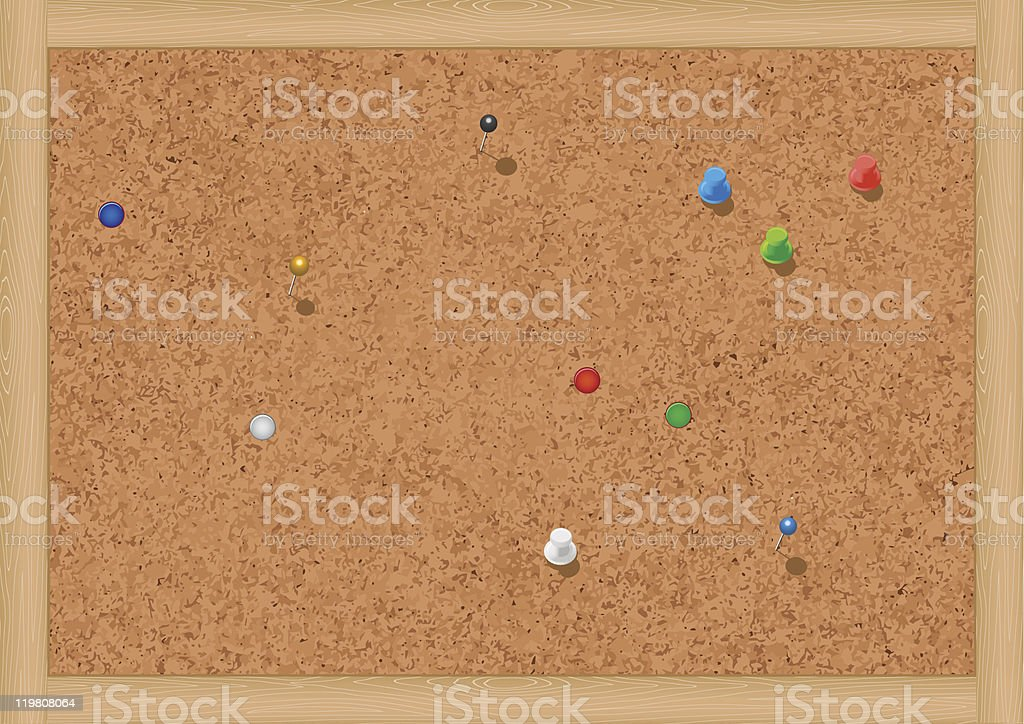 Vector illustration of a blank cork notice board with thumbtacks. royalty-free stock vector art