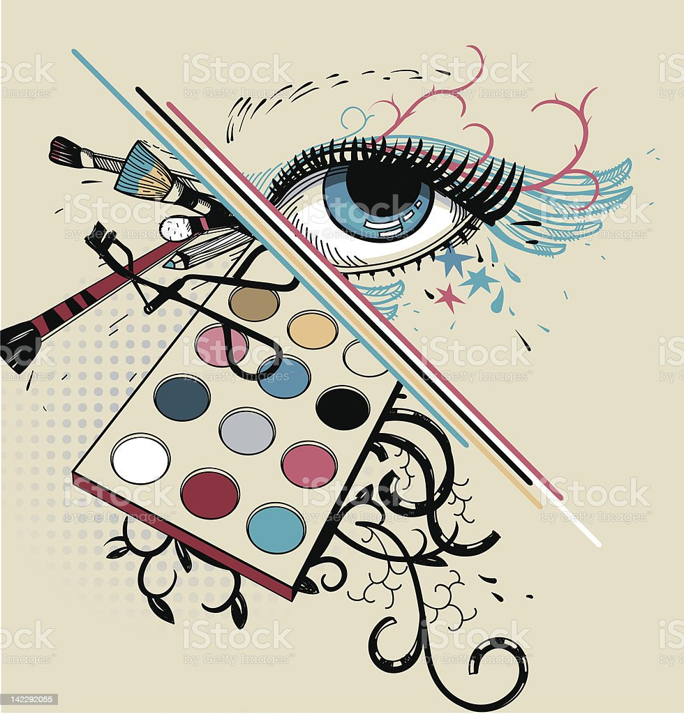 vector illustration of a blue eye and make up royalty-free stock vector art