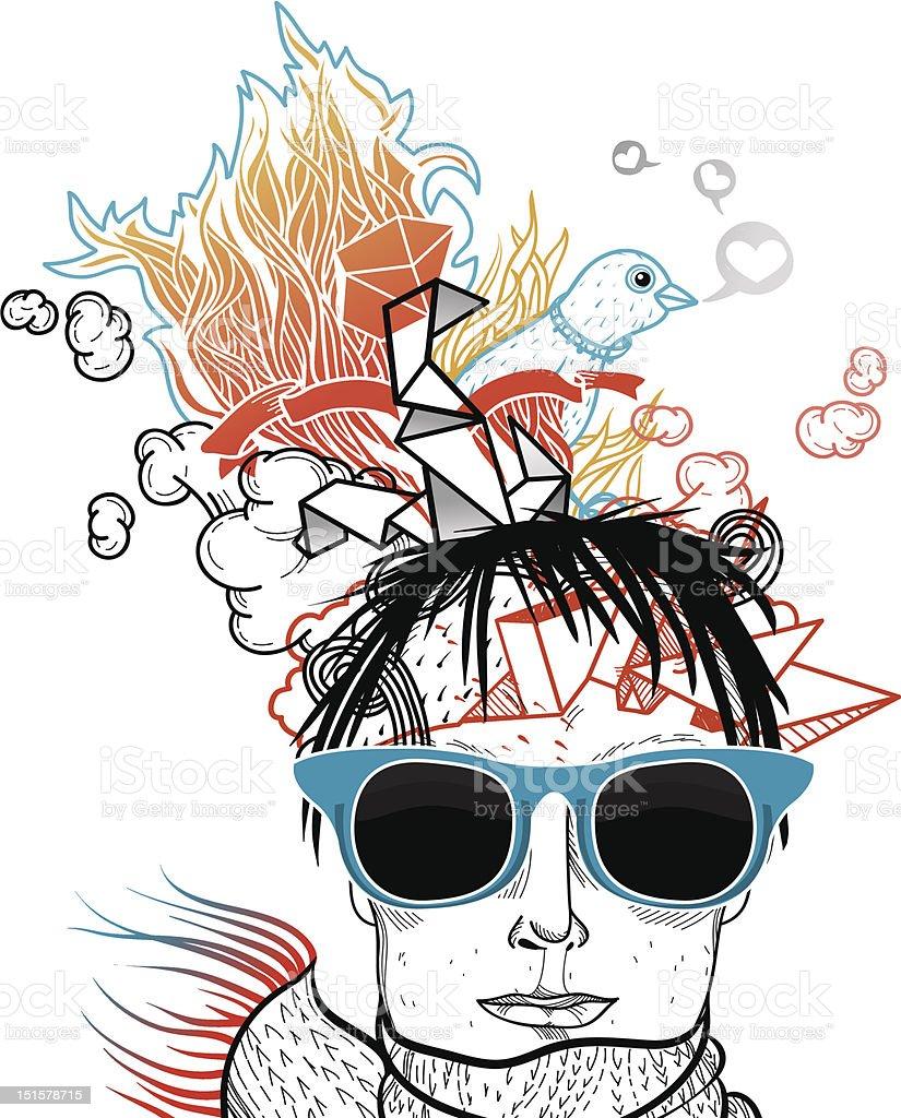 vector illustration of a boy in blue sunglasses vector art illustration