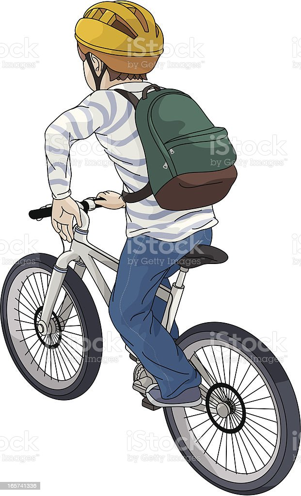 Vector illustration of a boy riding a bicycle royalty-free stock vector art