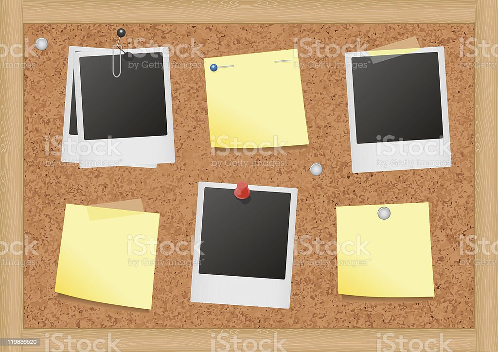 Vector illustration of a bulletin board with notes and photos. vector art illustration