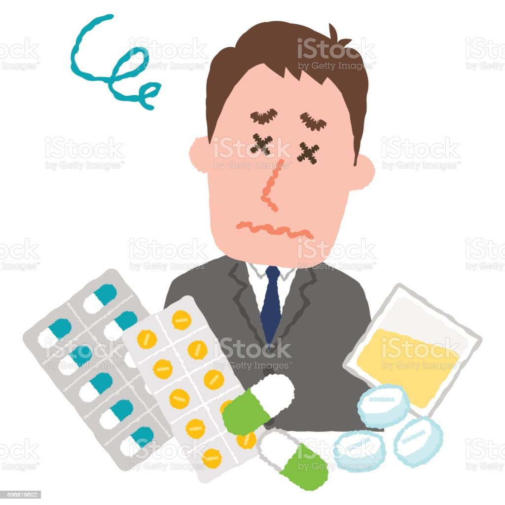 vector illustration of a businessman who are tired of many medicines vector art illustration