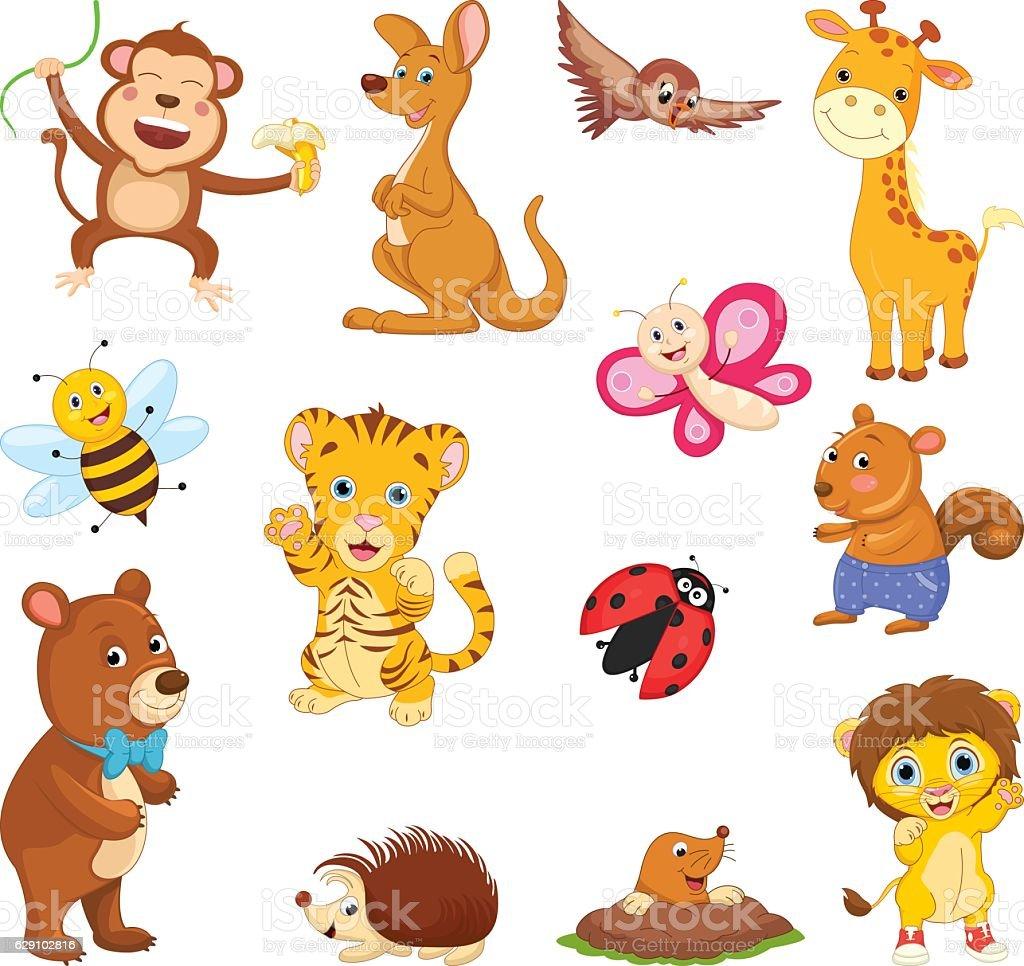 Vector Illustration Of A Cartoon Animals vector art illustration