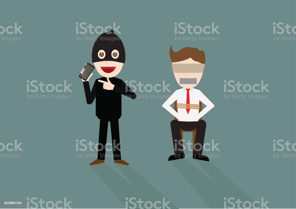 Vector illustration of a cartoon thief kidnapping businessman vector art illustration