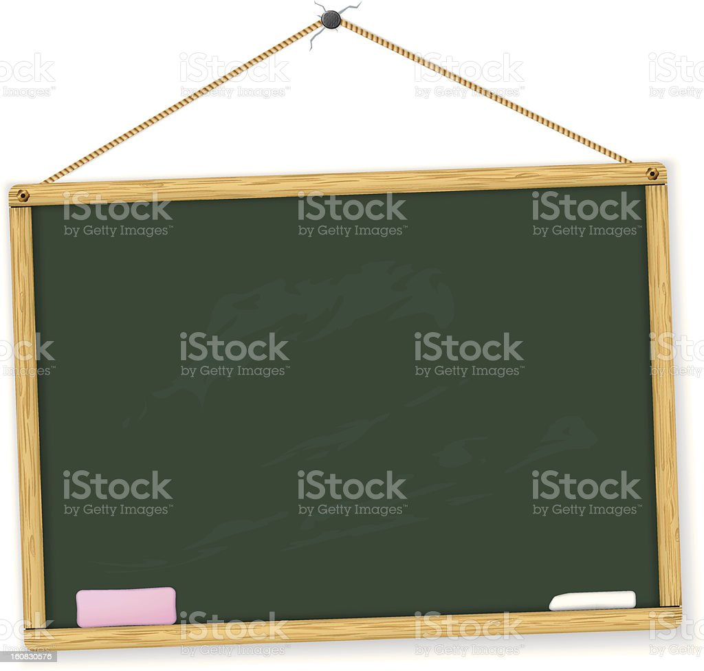 Vector illustration of a chalkboard with eraser and chalk royalty-free stock vector art