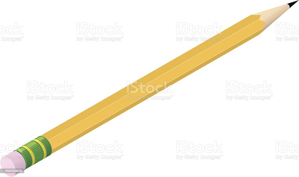 Vector illustration of a classic yellow pencil royalty-free stock vector art