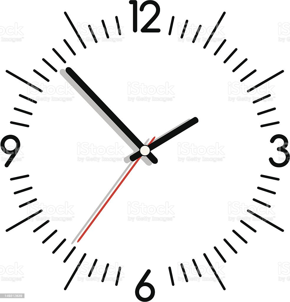 Vector illustration of a clock in black and white vector art illustration