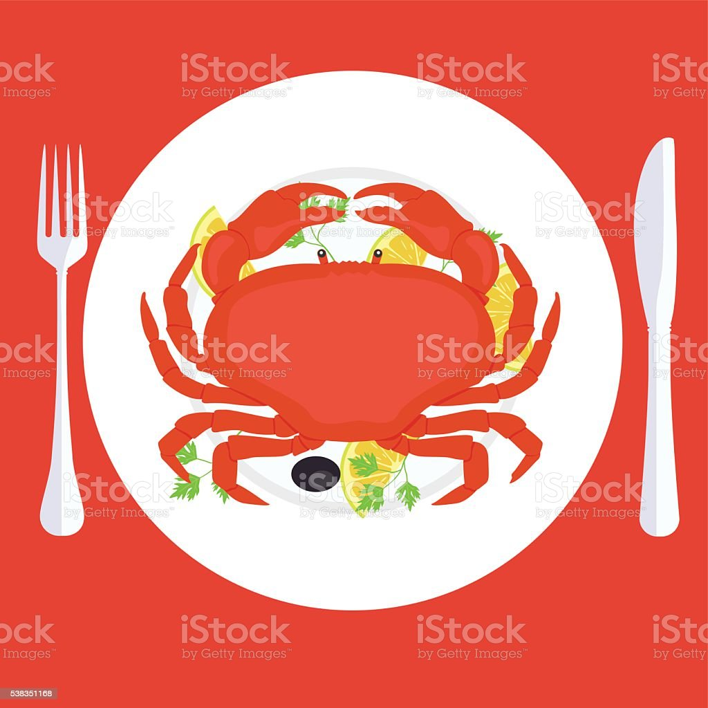 Vector illustration of a crab on plate with garnish vector art illustration
