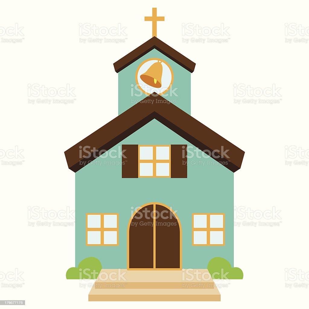 Vector Illustration of a Cute Church or Chapel vector art illustration