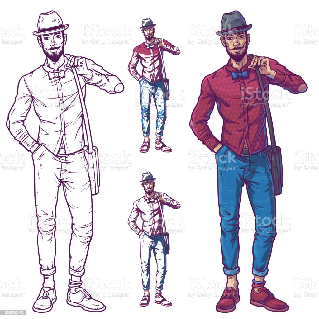 Vector illustration of a fashionable guy vector art illustration