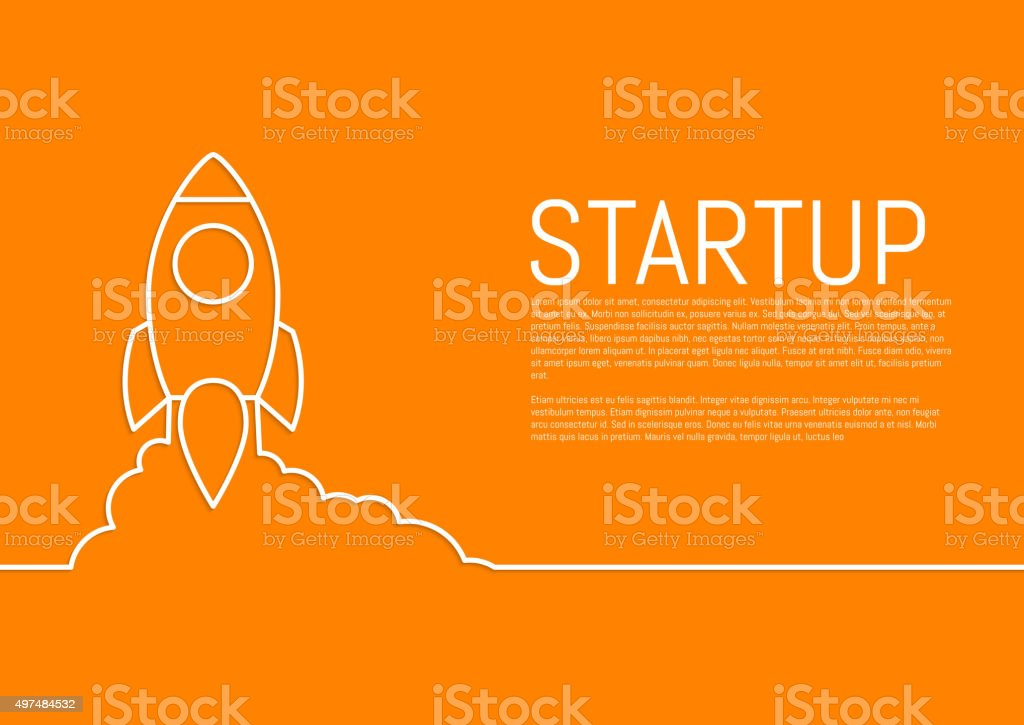 Vector illustration of a flat design of a startup rocket vector art illustration