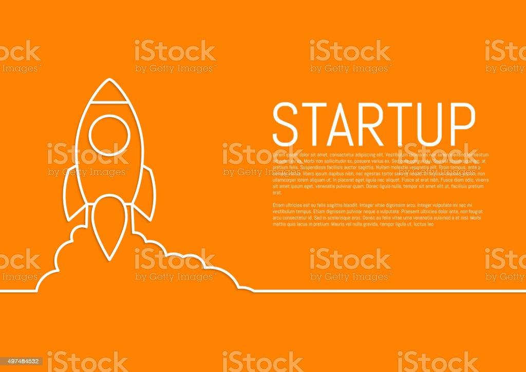 Vector illustration of a flat design of a startup rocket vector art illustration