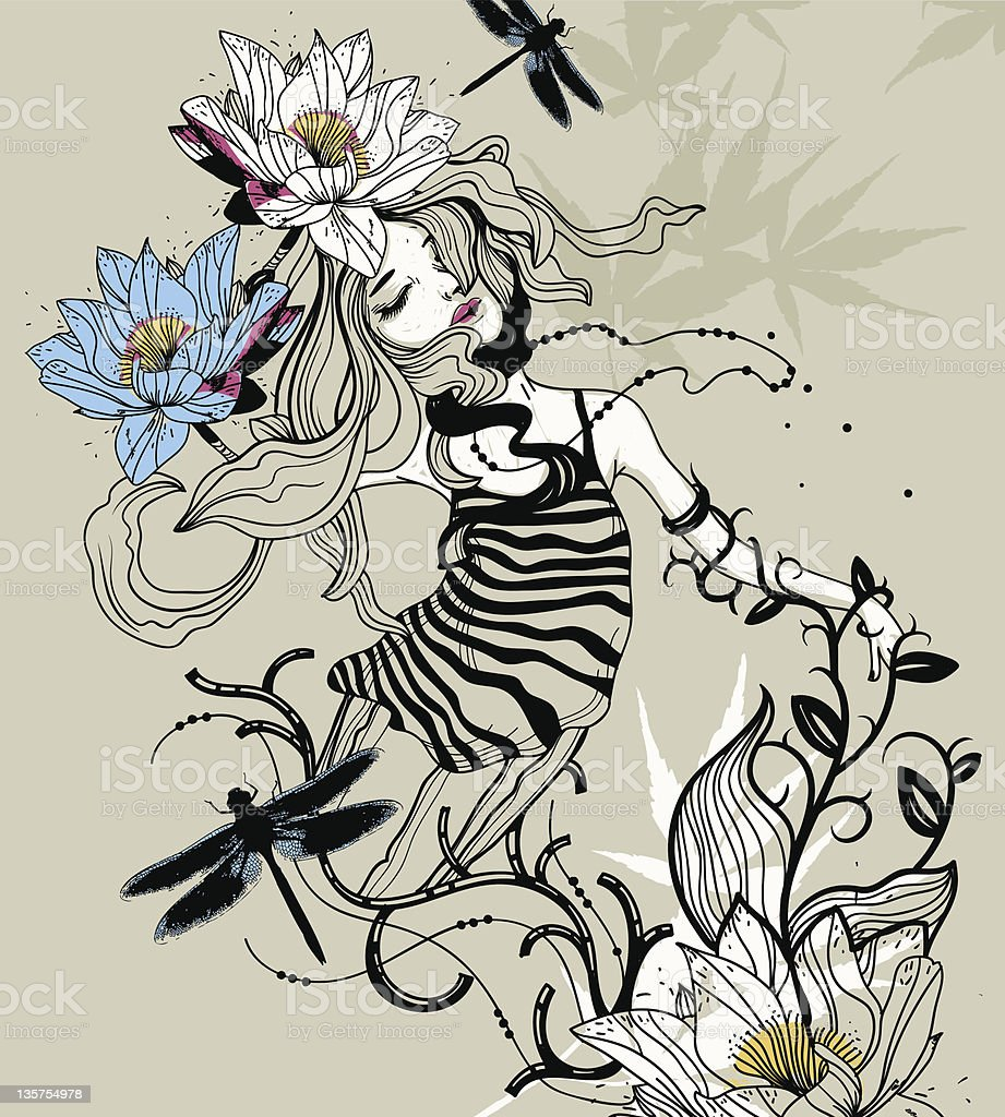 vector illustration of a girl and flowers royalty-free stock vector art