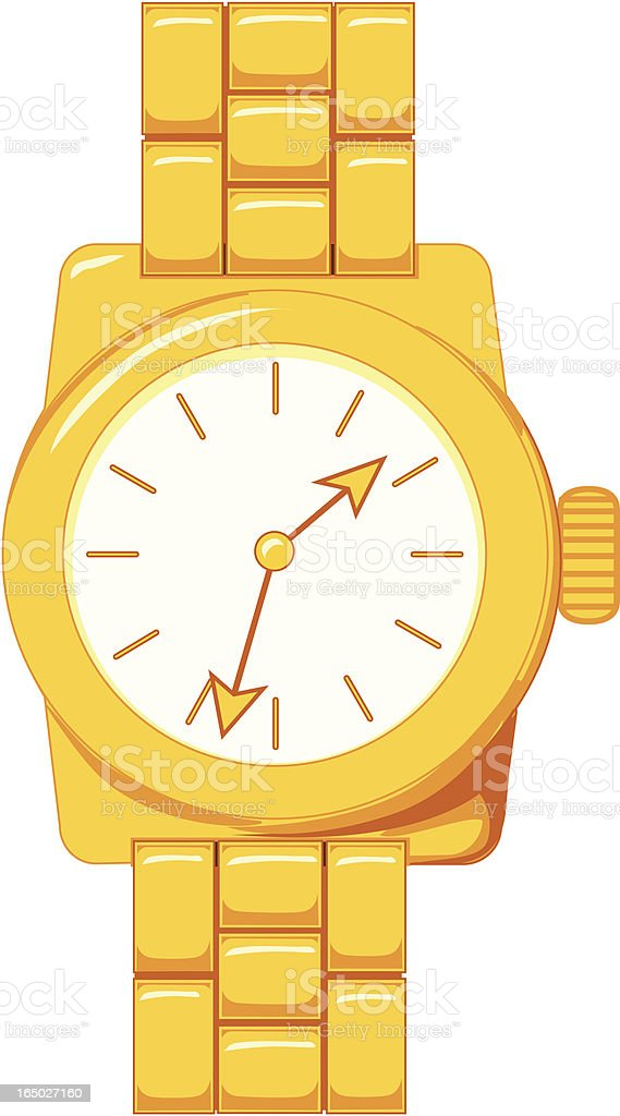 Vector Illustration of a Gold Wristwatch royalty-free stock vector art