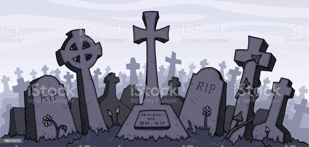 Vector illustration of a gray graveyard vector art illustration