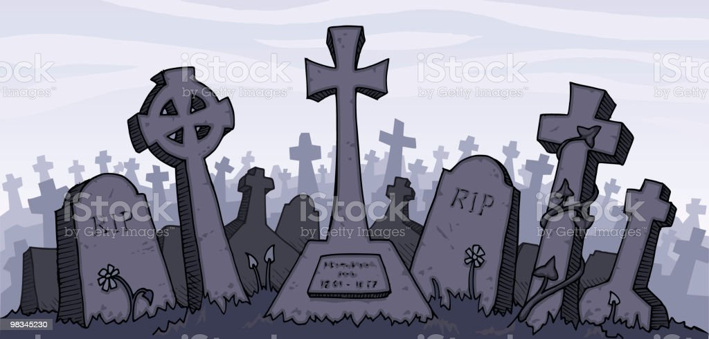 Vector illustration of a gray graveyard vector art illustration