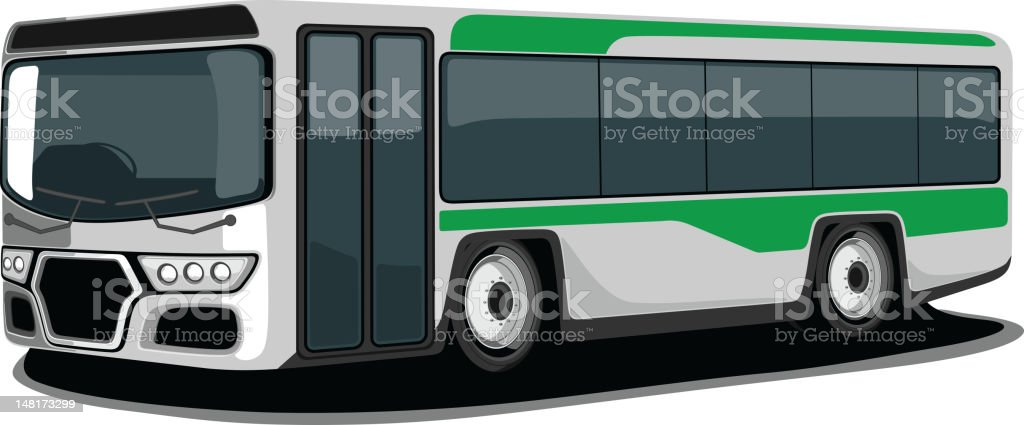 Vector illustration of a green and grey Bus. royalty-free stock vector art