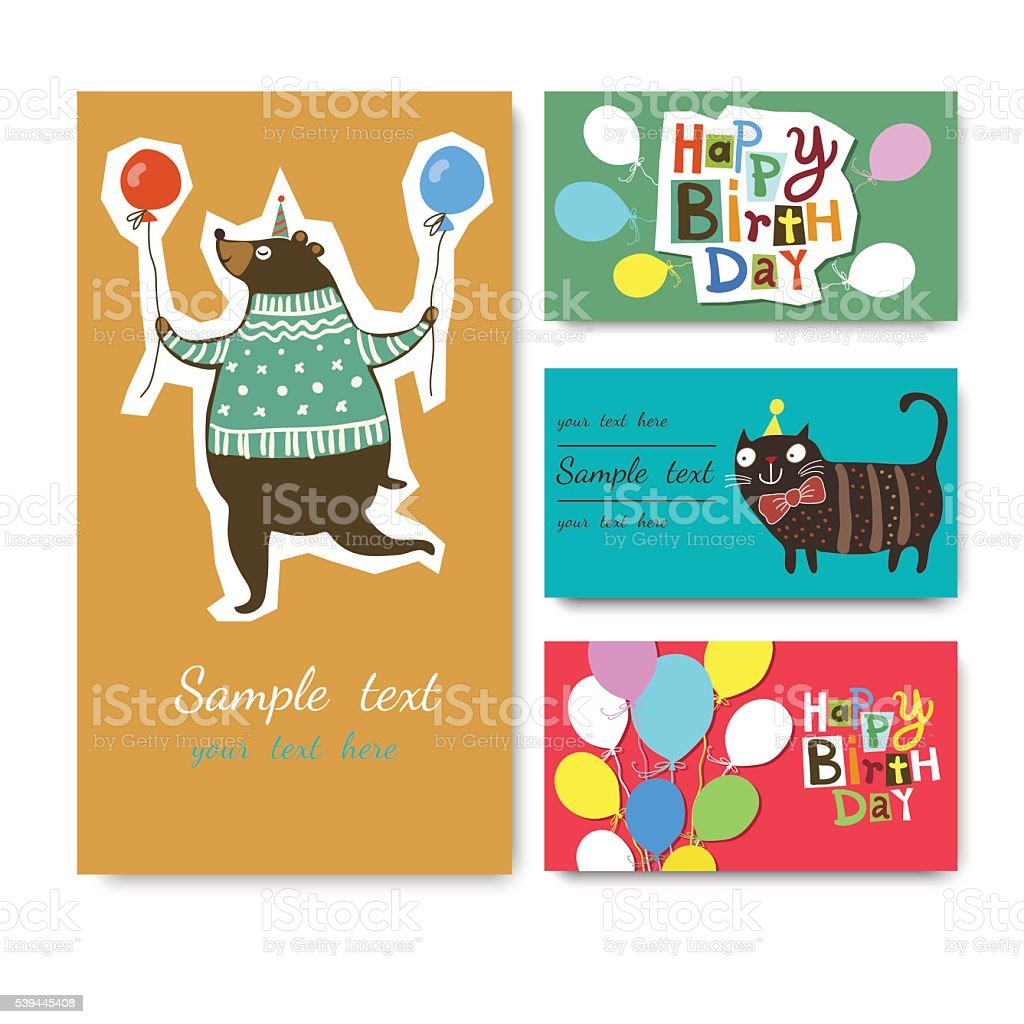 Vector Illustration of a Happy Birthday Greeting Card royalty-free stock vector art