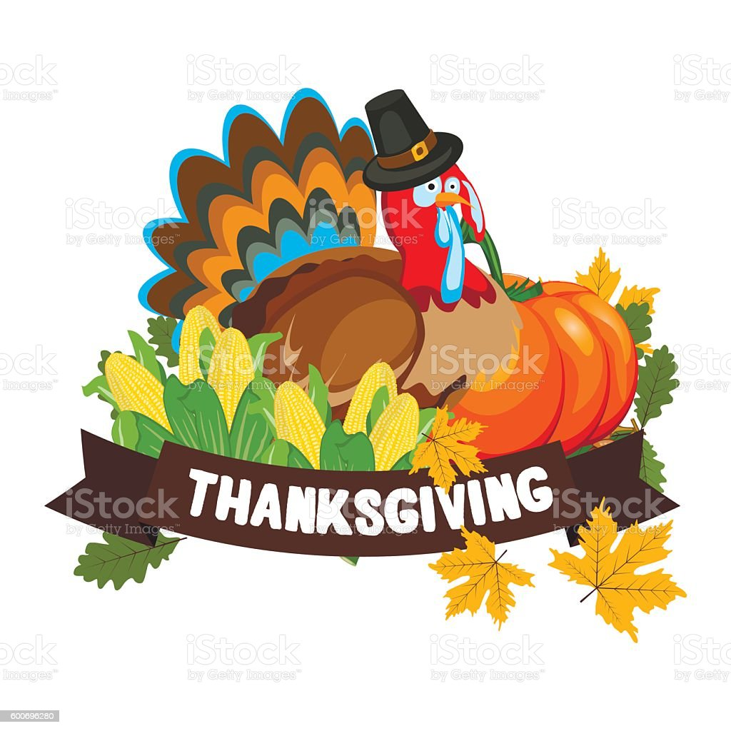 Vector Illustration of a Happy Thanksgiving Celebration Design. vector art illustration