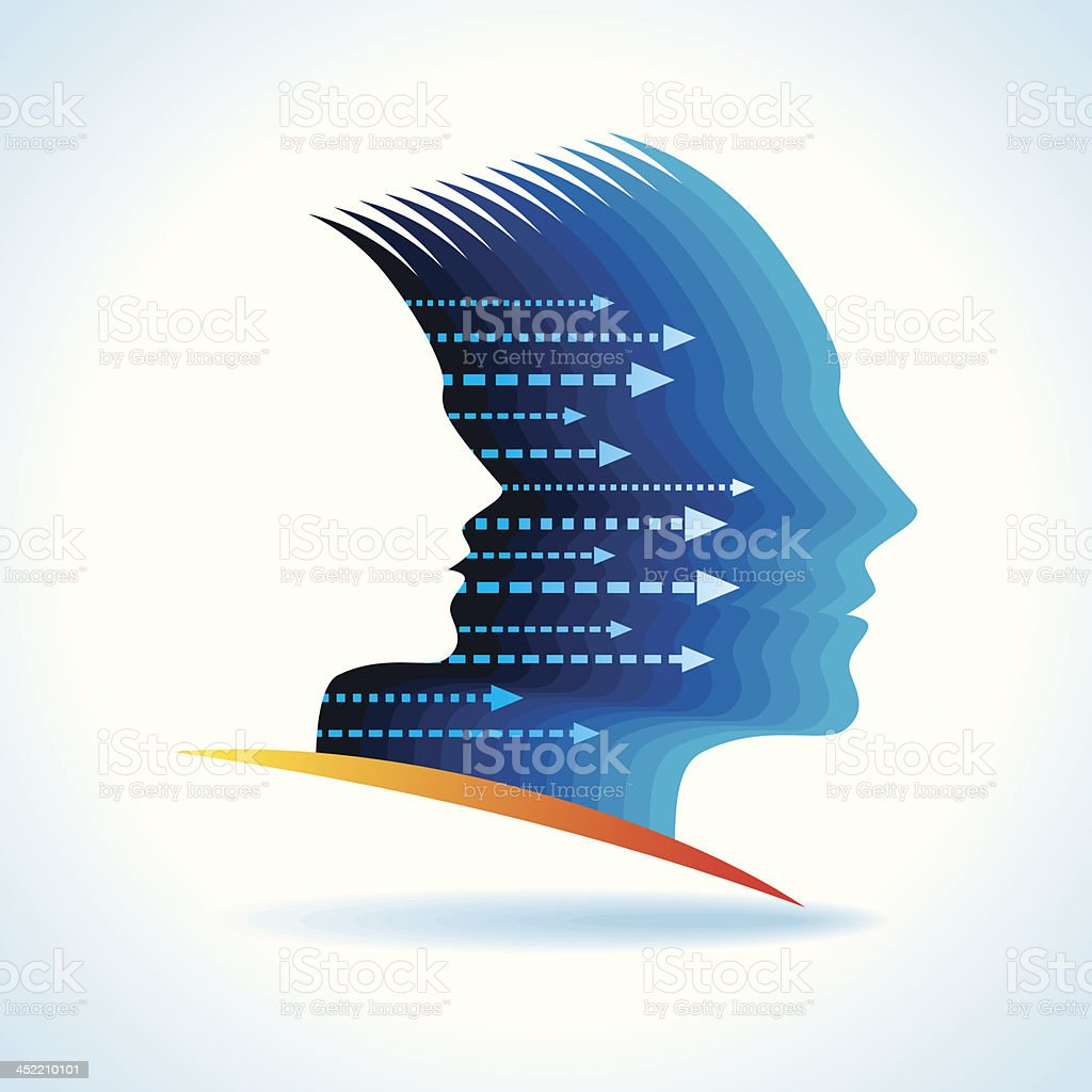 Vector illustration of a head representing thoughts vector art illustration