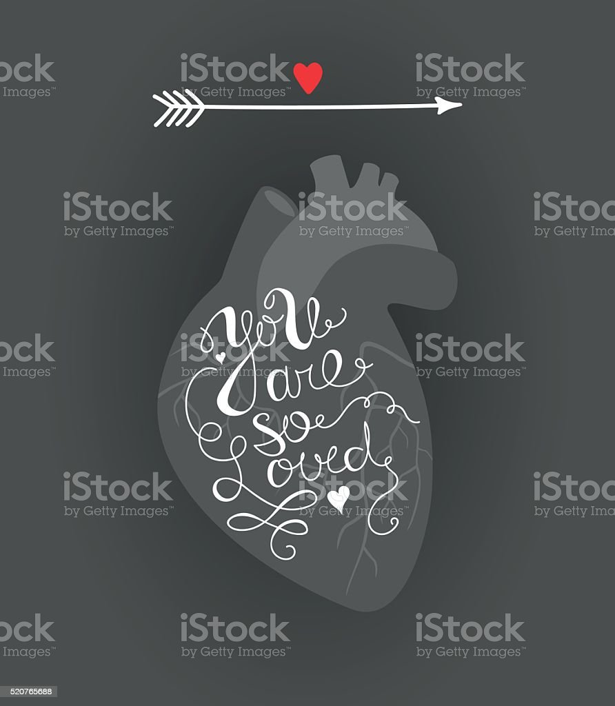 vector illustration of a heart with an inscription vector art illustration