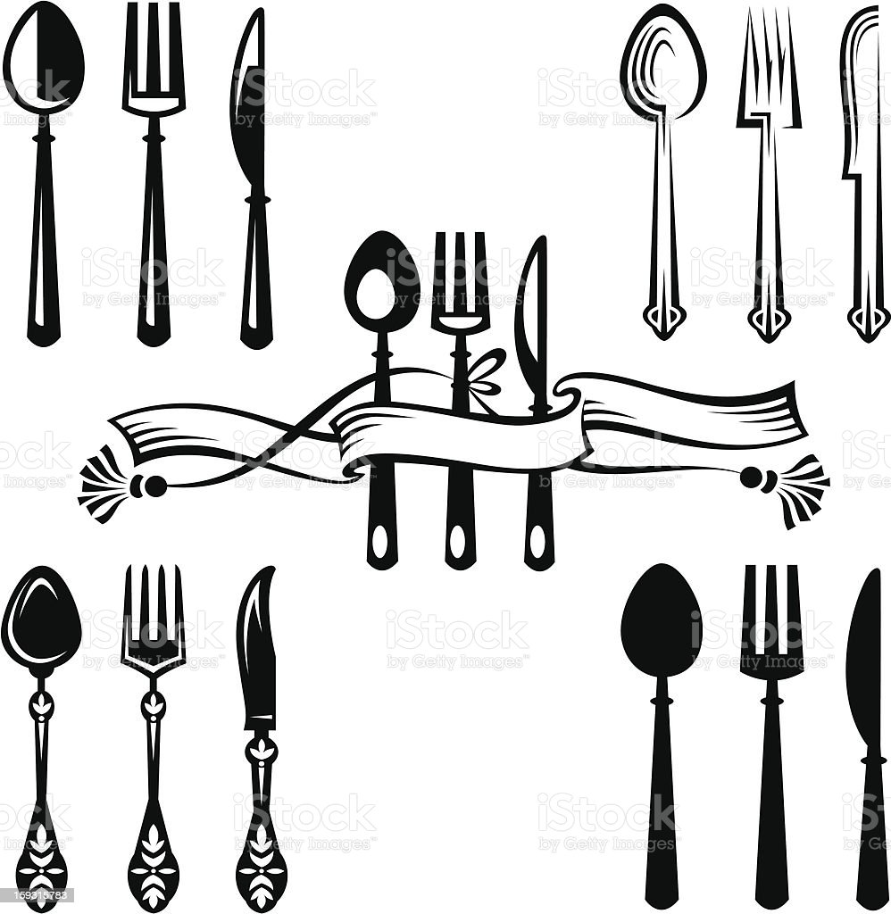 Vector illustration of a knife, fork, and spoon on white royalty-free stock vector art