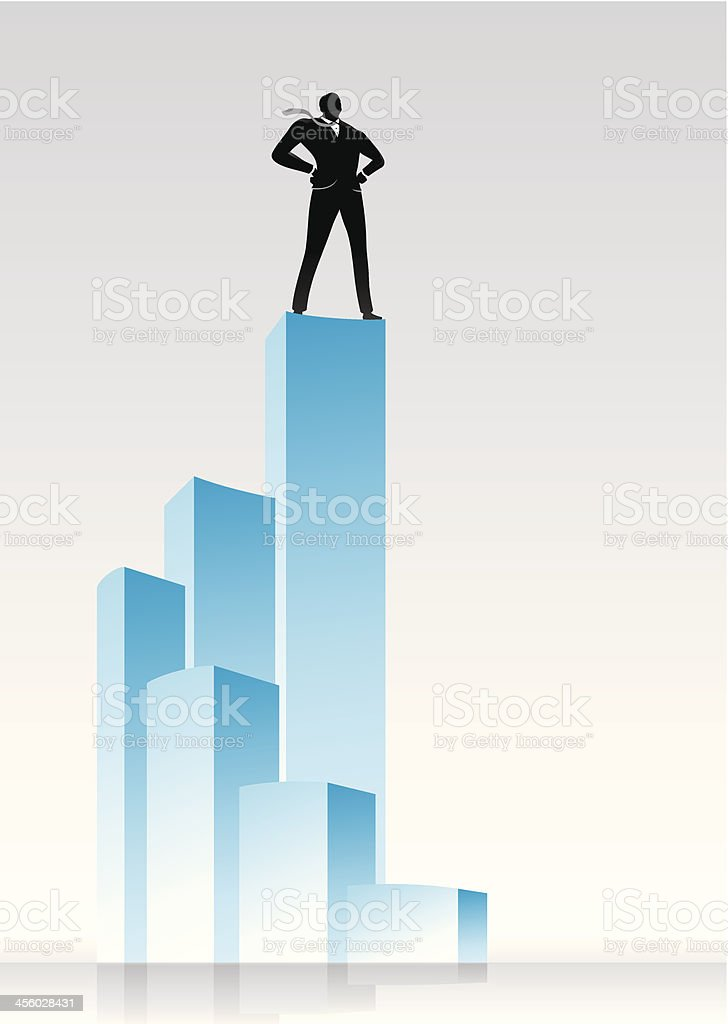 Vector illustration of a man standing on the tallest of bars royalty-free stock vector art