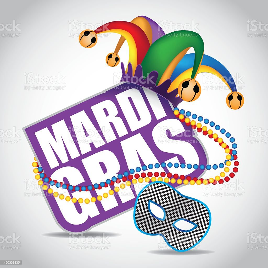 Vector illustration of a Mardi Gras sign with a jester's hat vector art illustration