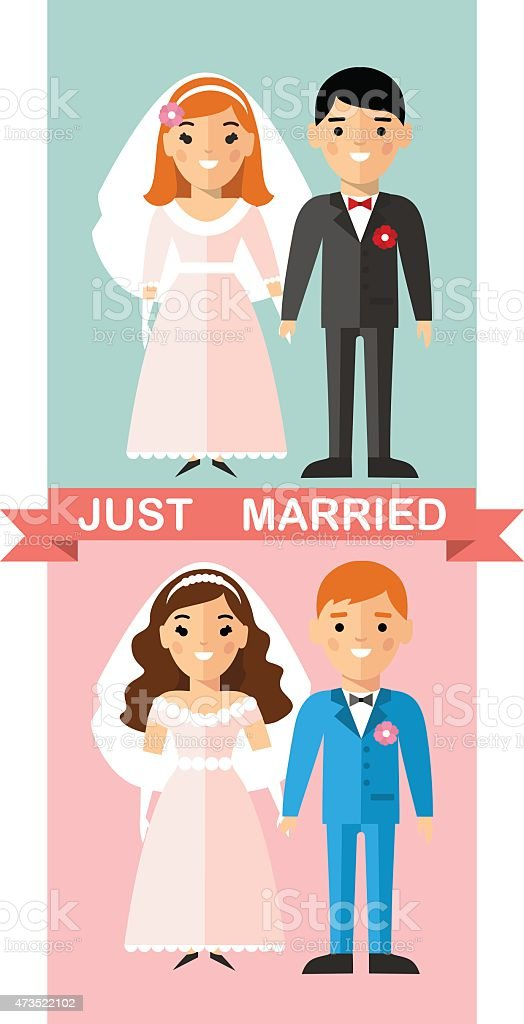 Vector illustration of a married  European couple people in love. vector art illustration