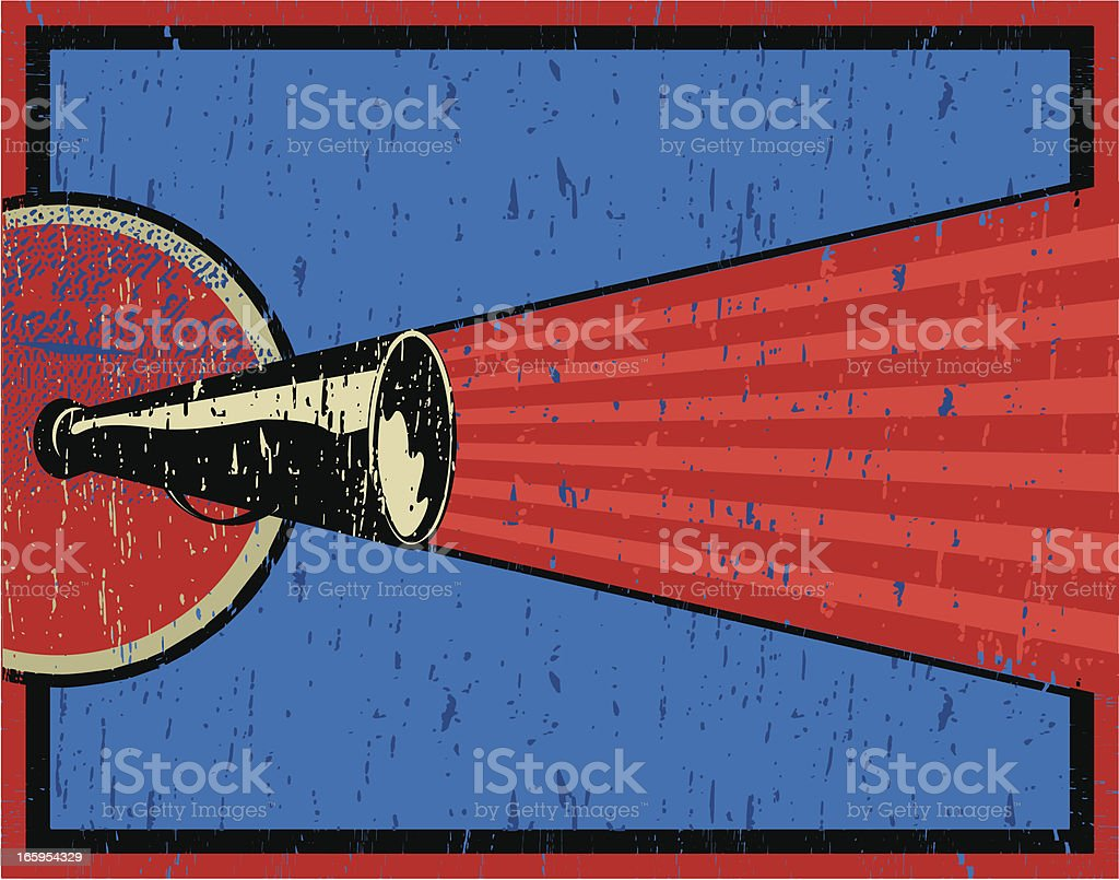 Vector illustration of a megaphone in blue and red vector art illustration