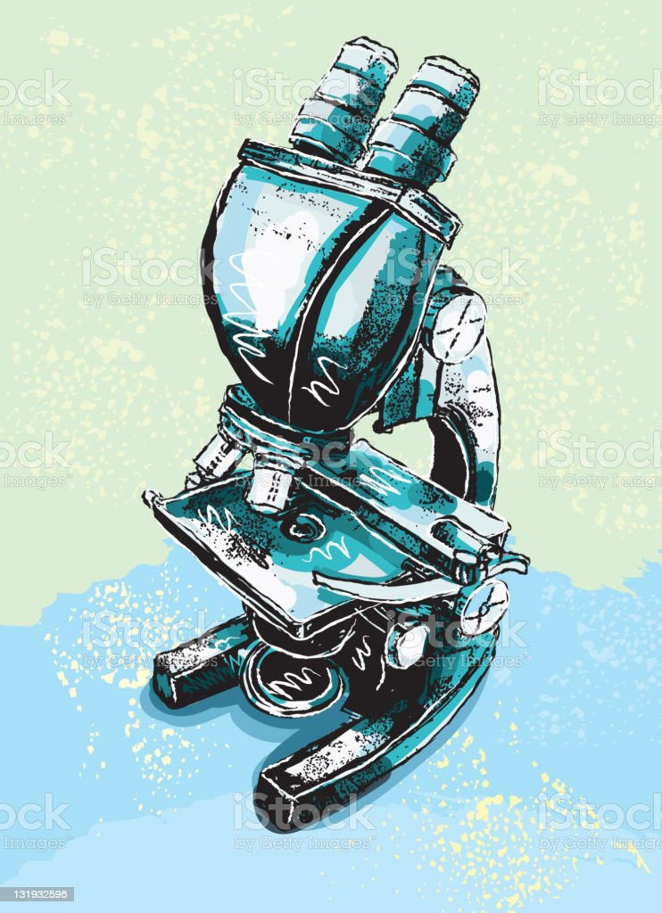 Vector illustration of a microscope vector art illustration