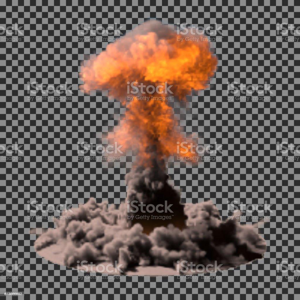 Vector Illustration of a mushroom cloud following  nuclear explosion on vector art illustration
