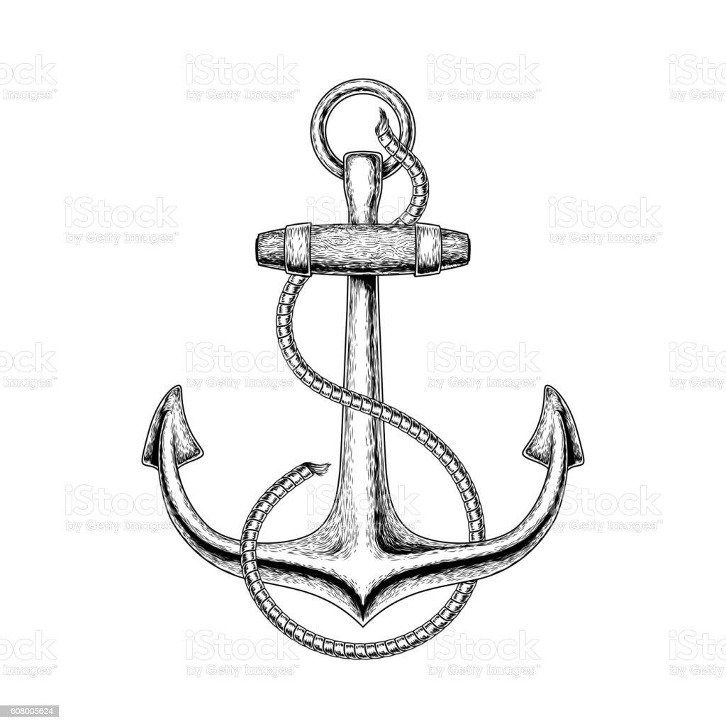 Vector illustration of a nautical anchor vector art illustration